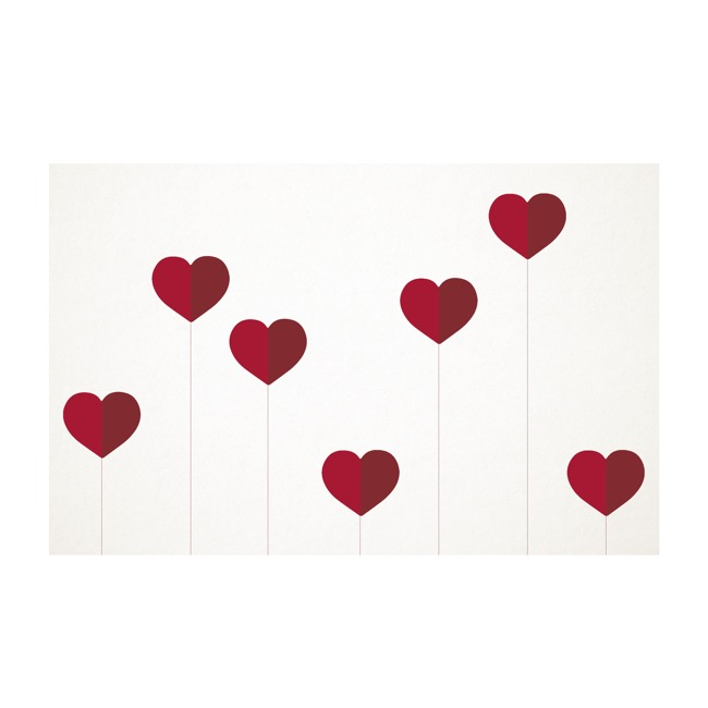 Florist Enclosure Cards - Cards White Lollipop Heart Red (10x6.5cmH) Pack 50