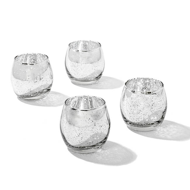 Rolypoly Glass Tealight Candle Holder Silver (5.5x6cmH)