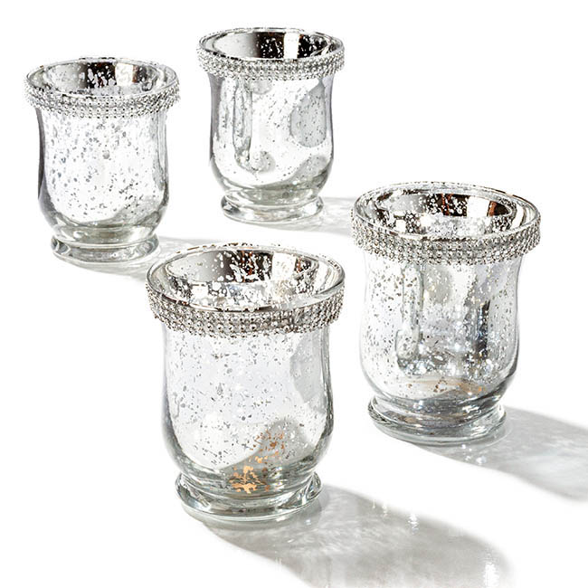 Diamante Glass Candle Holder Silver (9x11cmH)