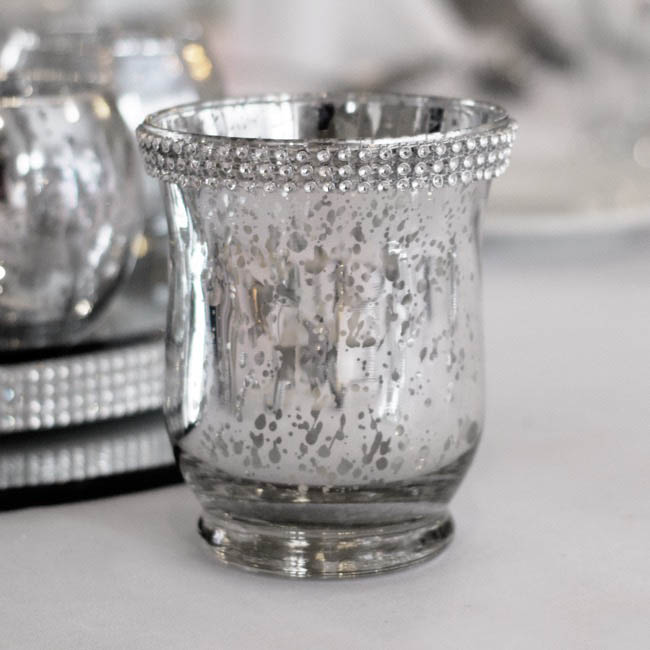 Candle Holders - Glass Votive Candle Holder Diamante Silver (9x11cmH)