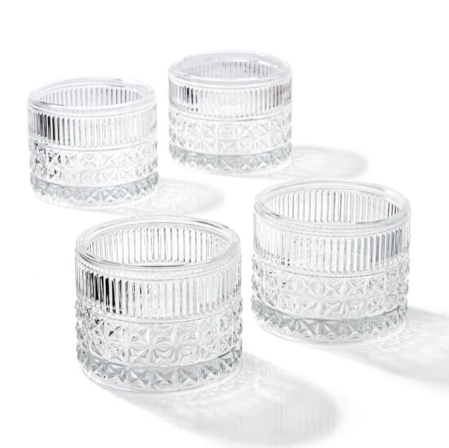 Candle Holders - Glass Candle Holder Vino Clear (10.5x8cmH)