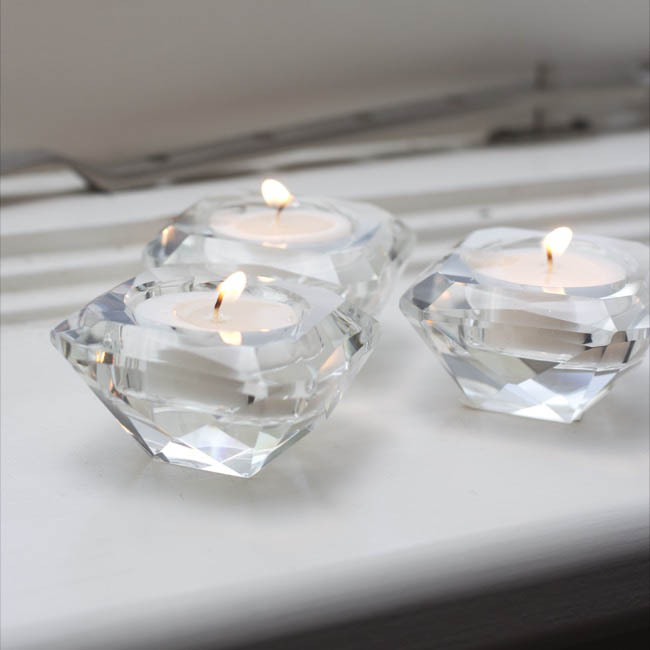 Candle Holders - Crystal Glass Diamond Tealight Candle Holder Clear (7x4cmH)