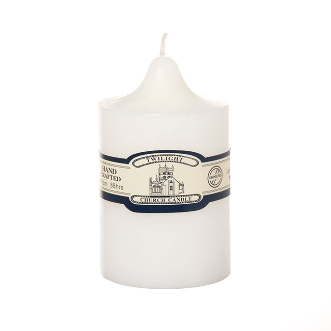 Church Pillar Candle White (9x15cmH) 88Hr