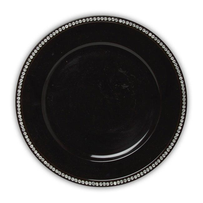 Candle Plates u0026 Mirrors - Charger Plate with Diamonds Round 33cmD Black  sc 1 st  Koch u0026 Co & Charger Plate with Diamonds Round 33cmD Black