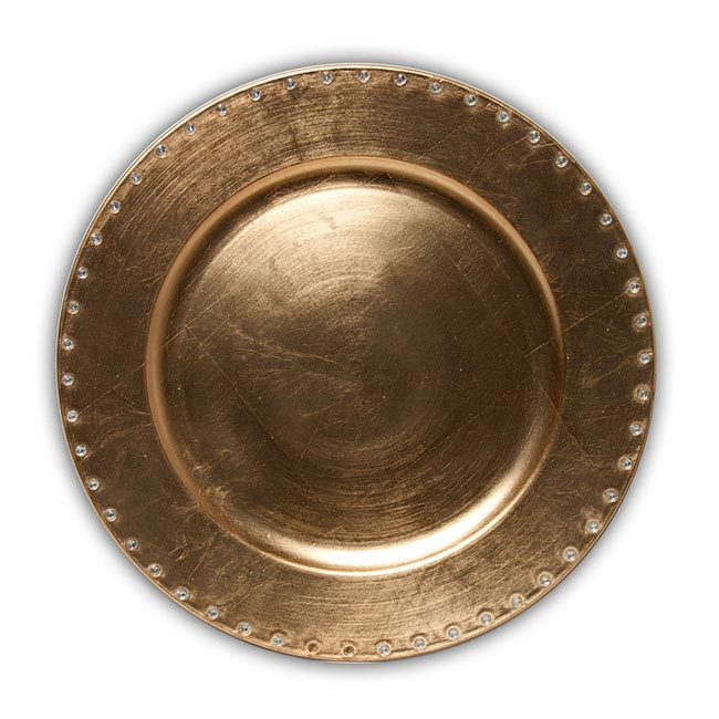 Charger Plate with Diamonds Round Gold (33cmD)