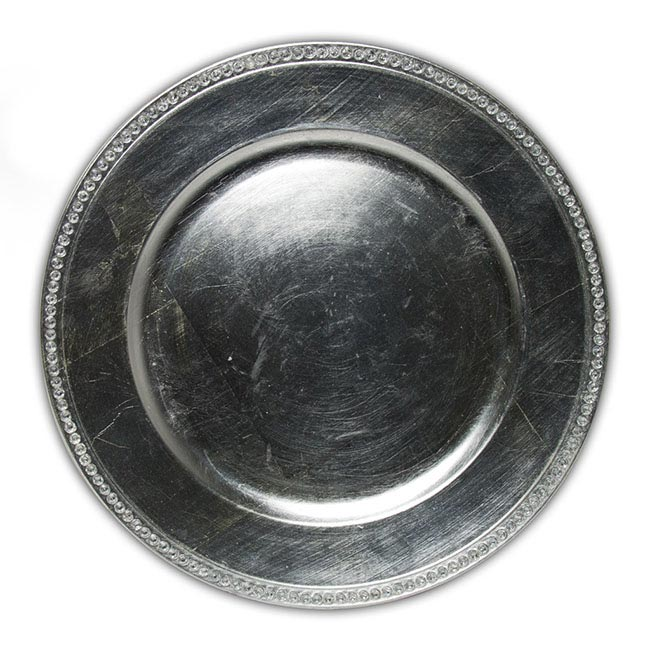 Candle Plates & Mirrors - Charger Plate with Diamonds Round Silver (33cmD)