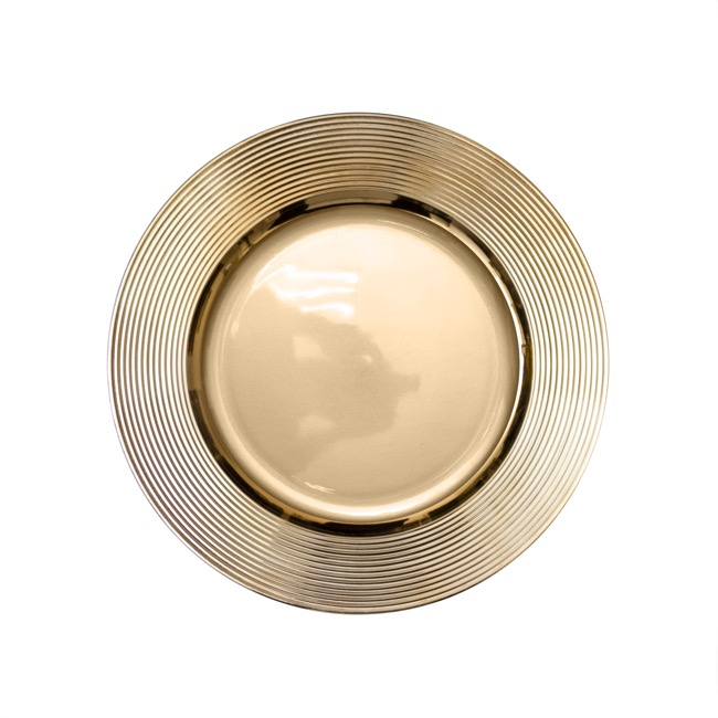Candle Plates & Mirrors - Charger Plate Ripple (33cmD) Chrome Gold