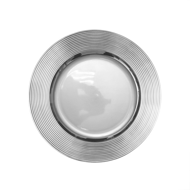 Candle Plates & Mirrors - Charger Plate Ripple (33cmD) Chrome Silver