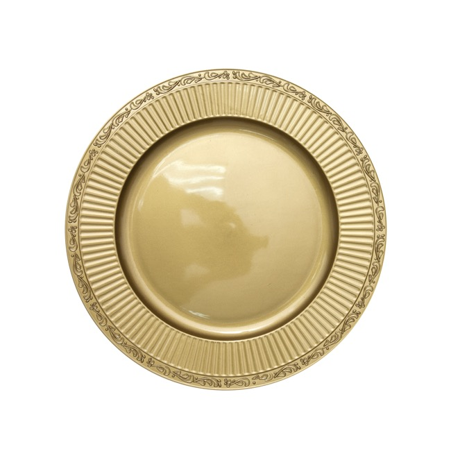 Candle Plates & Mirrors - Charger Plate Round (33cmD) Metallic Gold