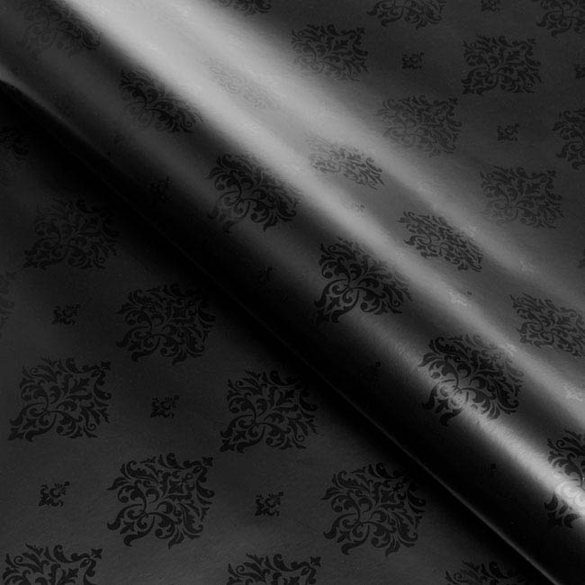 Counter Roll 80gsm Damask 50cmx60m Glossy Black on Black