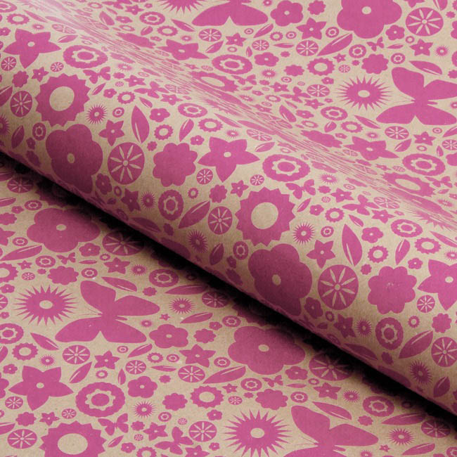Counter Roll Floral Hot Pink on Brown Kraft 60gsm(50cmx60m)
