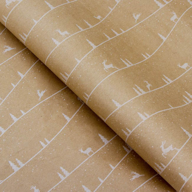 Counter Roll Forest White on Brown Kraft 60gsm (50cmx60m)