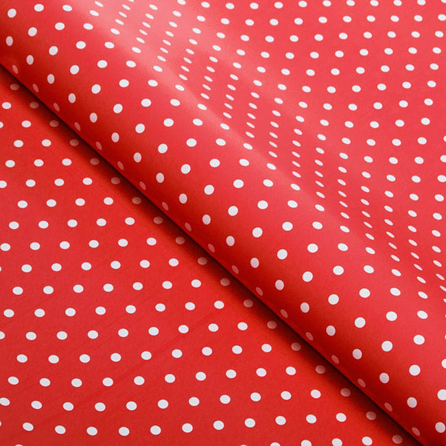 Counter Roll 80gsm Polka Dots 50cmx60m Gloss White on Red