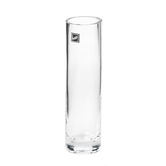 Glass Bud Vases - Glass Cylinder Bud Vase Clear (6Dx22cmH)