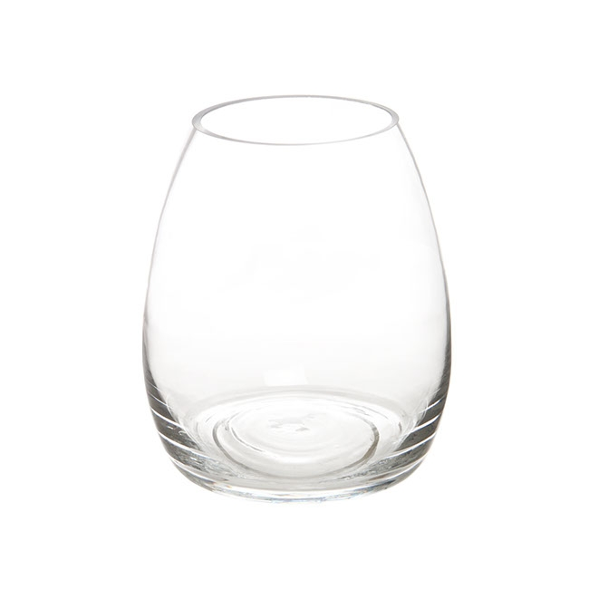Glass Belly Vase D17.7x20cmH Clear