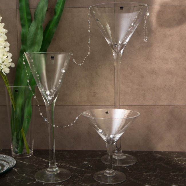 Decorative Vases - Glass Martini 23Dx26cmH Clear