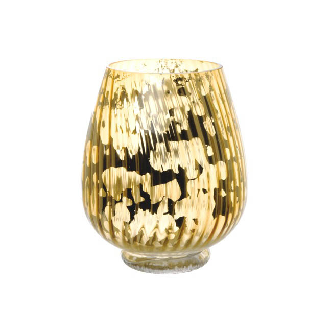 Glass Hurricane Lotus Crystal Stripes 17Dx20cmH Gold