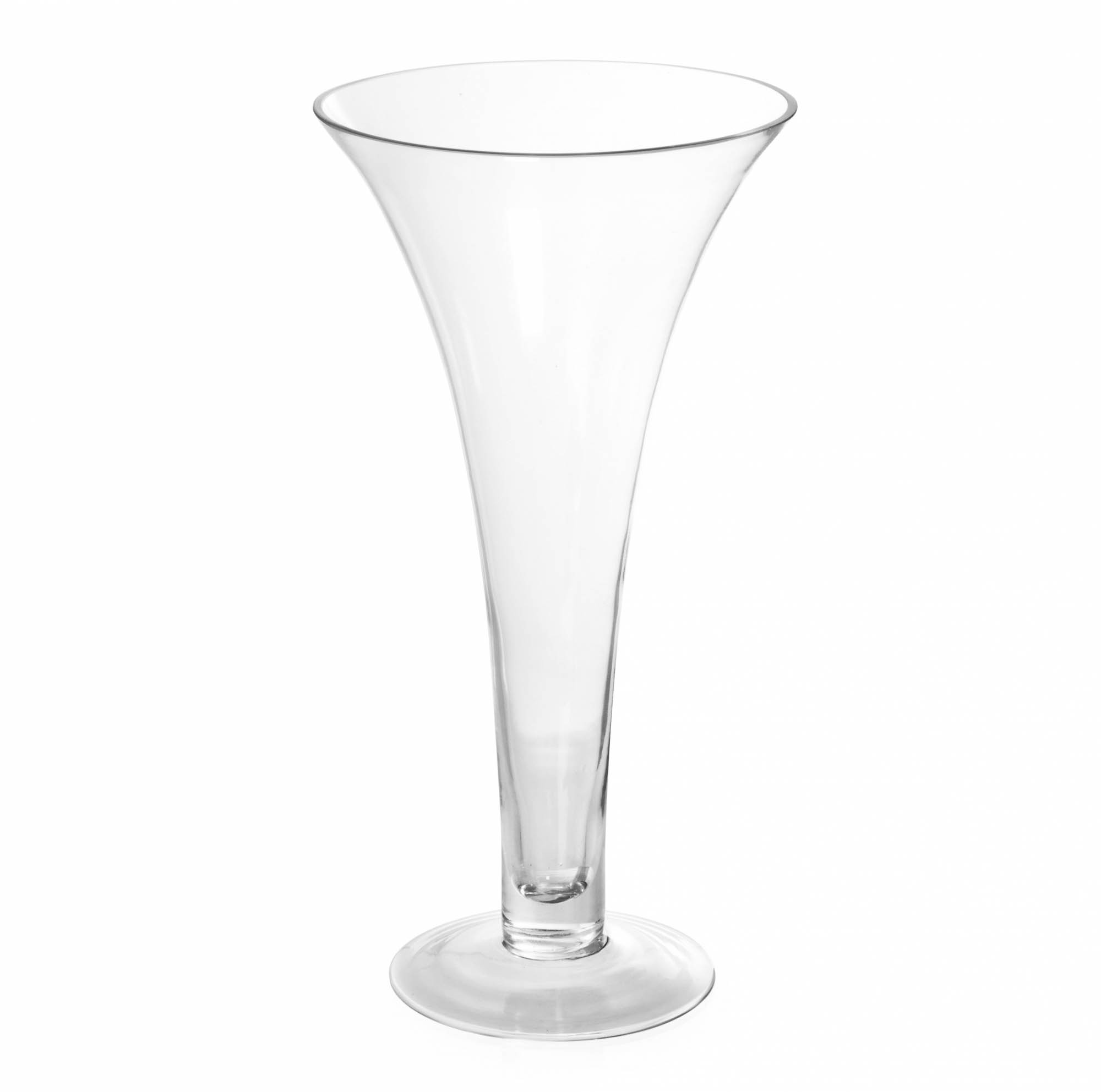 Glass Trumpet Vase 20Dx40cmH Clear