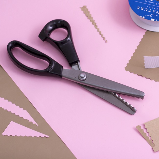Scissors Shears Floral Cutters - Pinking Shears Zig Zag Scissors Black (23.5cm)