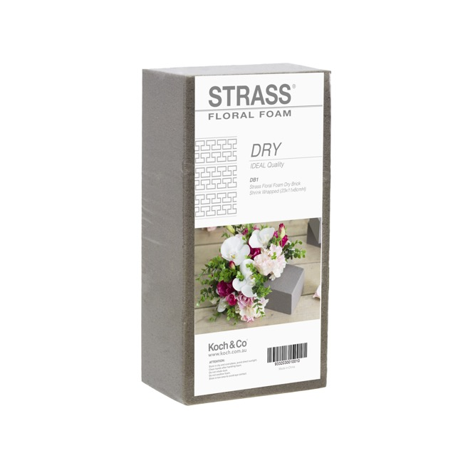 Strass Floral Foam Dry Brick Shrink Wrapped (23x11x8cmH)