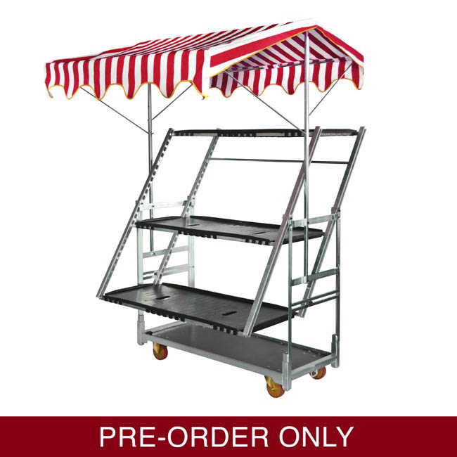 Flower Display Stand - Flower Trolley 3 Adjustable Display Shelves(135x65.5x199cmH)