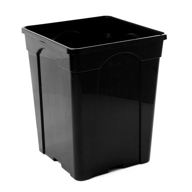 Flower Bucket Plastic Square 10L 22x27cmH Black
