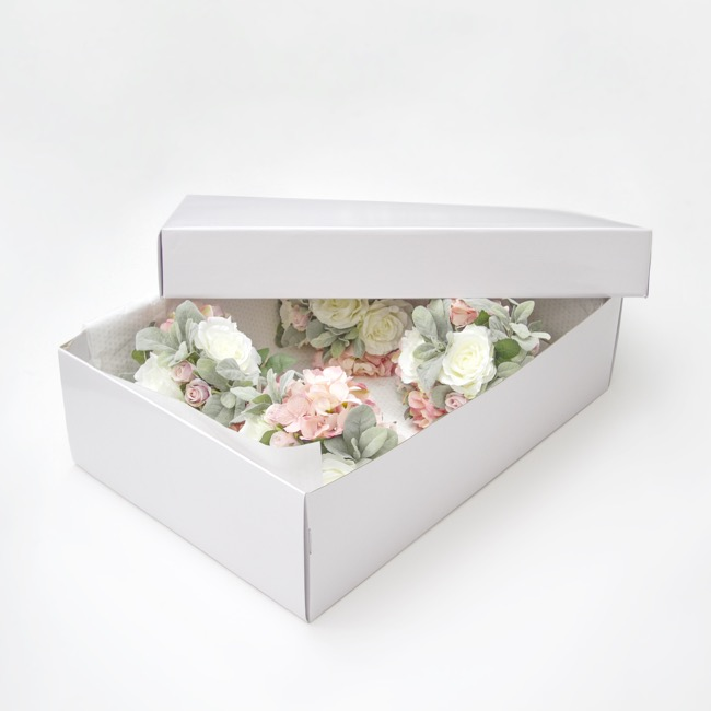 Bouquet Gown Christening Box - Wedding Box and Lid Gloss White (72x39x20cmH)