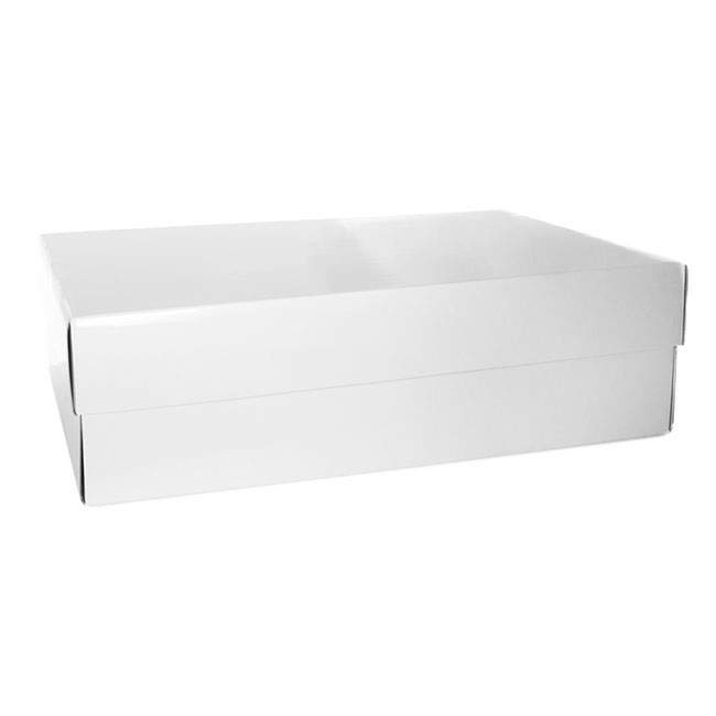 Bouquet Gown Christening Box - Wedding Box and Lid Gloss White (70x48x20cmH)
