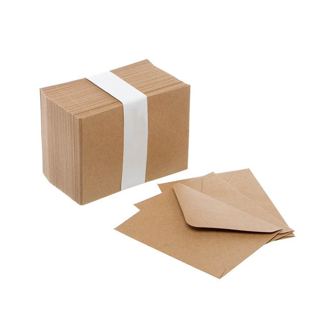 Envelopes - Brown Kraft Envelopes Lick & Stick (85x110mm) Pack 100