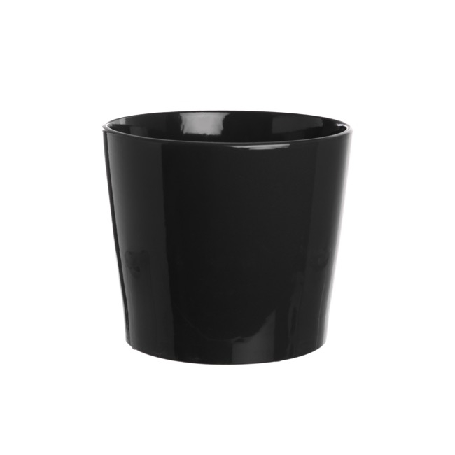 Large Flower Pots & Planters - Ceramic Bravo Pot Medium Gloss Black (18Dx15cmH)
