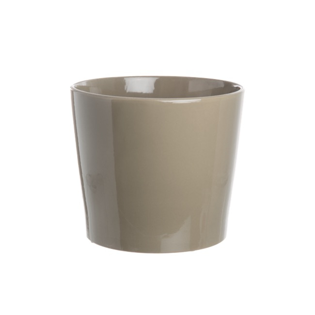 Large Flower Pots & Planters - Ceramic Bravo Pot Medium Gloss Latte (18Dx15cmH)