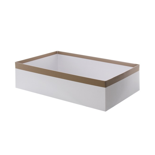 Cardboard Hamper Tray - Rigid Gourmet Hamper Box Sml White wCopper trim (33x23x9cmH)