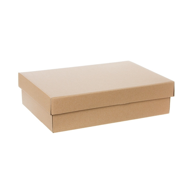 Cardboard Gourmet Box - Gourmet Box Rectangle Small Brown Kraft (33x23x9cmH)