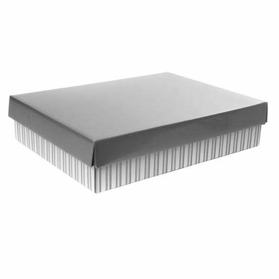 Gourmet Box Rectangle Small Stripes Silver (33x23x9cmH)