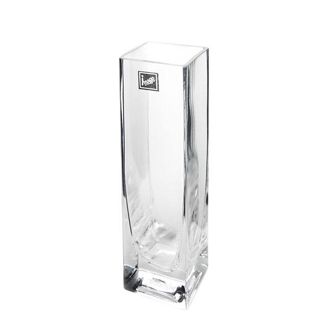 Square Glass Bud Vase Clear (5cmDx20cmH)