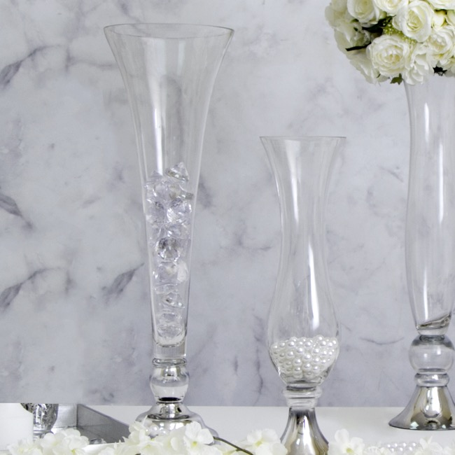Decorative Vases - Glass Trumpet Vase with Chrome Base Clear (19cmDx61cmH)