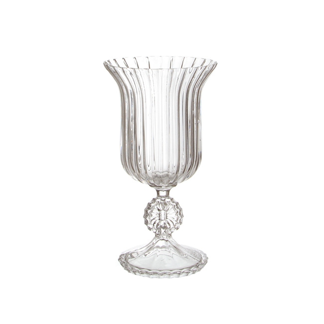 Glass Trumpet Vase Crystal Stripes 17Dx31cmH Clear