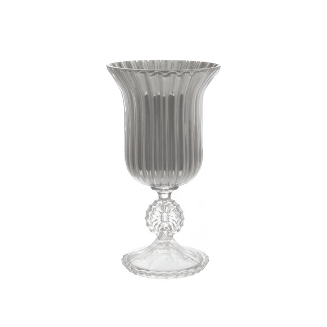 Glass Trumpet Vase Crystal Stripes 17Dx31cmH Silver