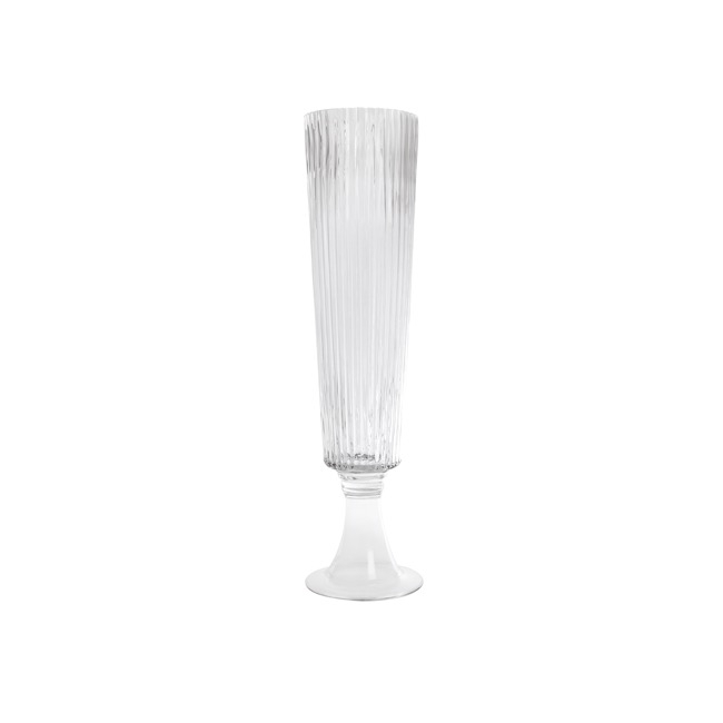 Glass Flute Vase Crystal Stripes Clear 13cmdx56cmh
