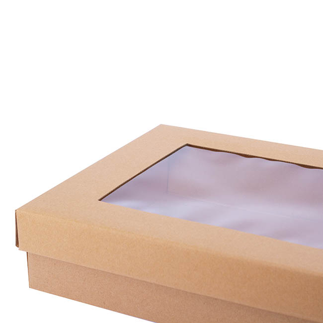 Cardboard Gourmet Box - Gourmet Box Rectangle Window Large Brown Kraft 40x30x9cmH