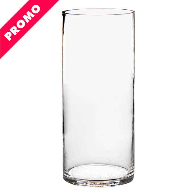 Glass Cylinder Vases - Glass Cylinder Vase Clear (15Dx35cmH) Promo