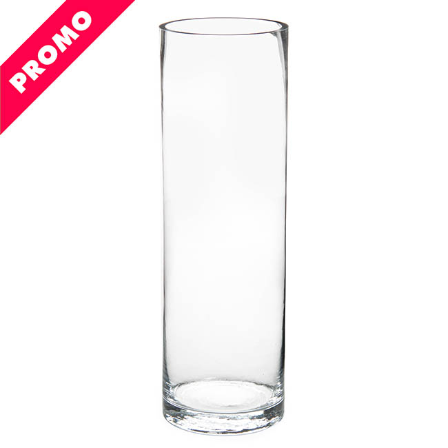 Glass Cylinder Vases - Glass Cylinder Vase Clear (12Dx40cmH) Promo