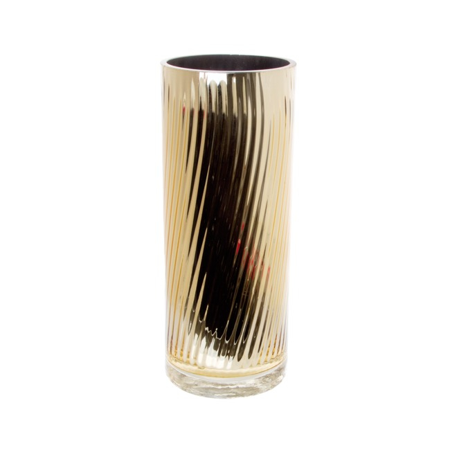 Glass Cylinder Vase Crystal Stripes 12Dx30cmH Gold