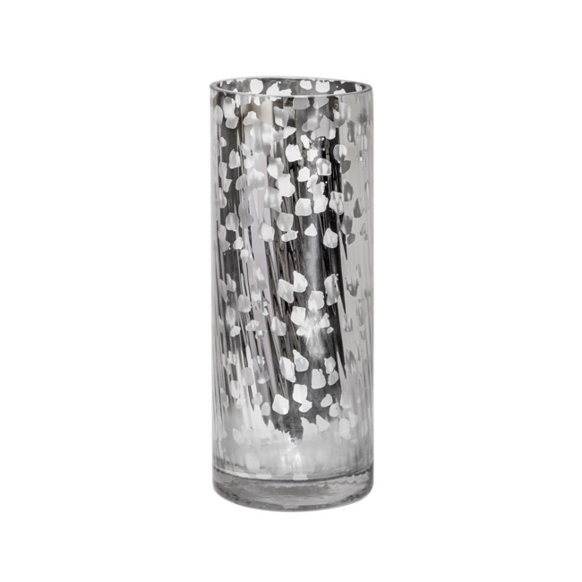 Cylinder & Conical Vases - Glass Cylinder Vase Crystal Stripes 12Dx30cmH Mercury Silver