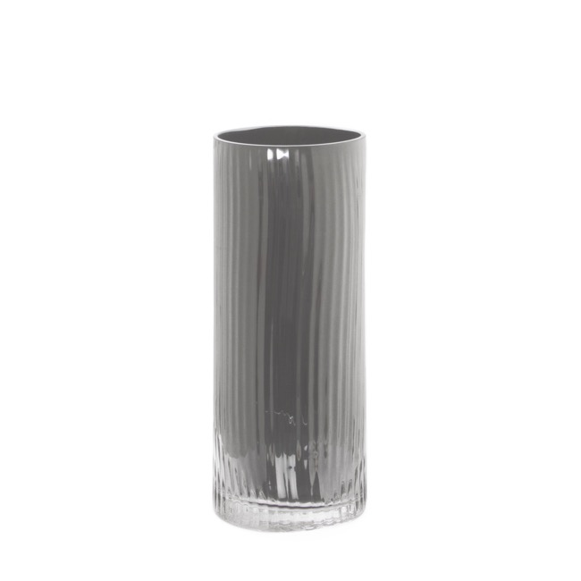 Cylinder & Conical Vases - Glass Cylinder Vase Crystal Stripes 12Dx30cmH Silver