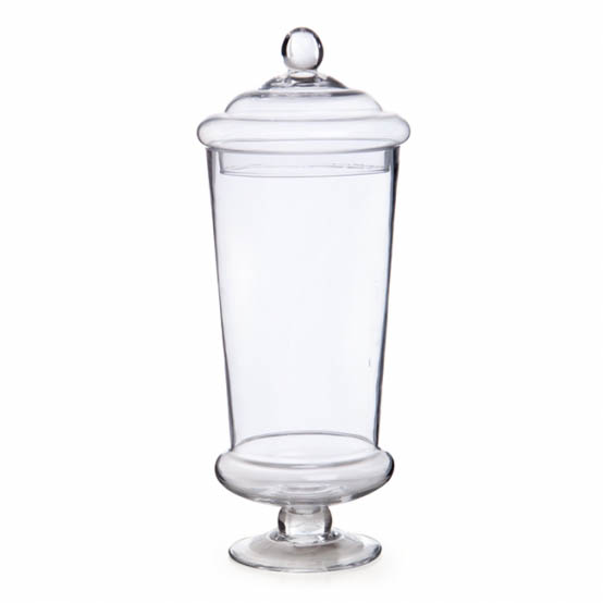 Glass Candy Jar Conical W/Lid 15Dx40cmH Clear