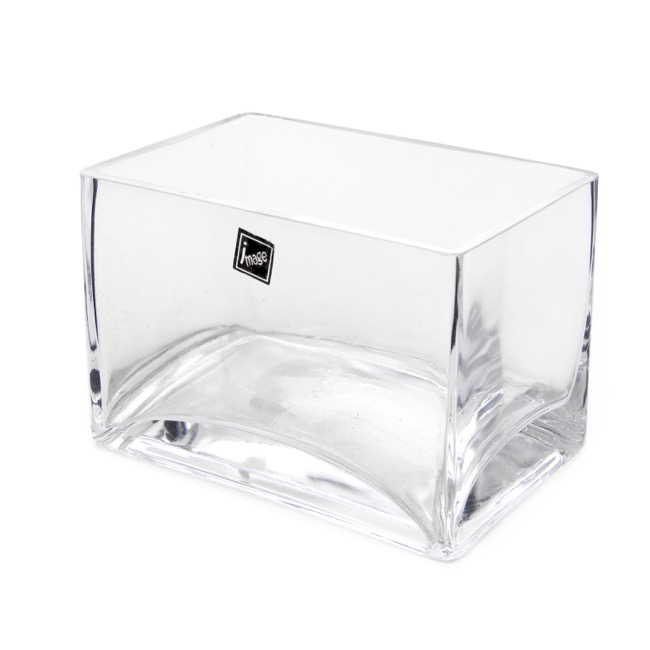 Glass Square Vases - Glass Rectangle Vase Clear (15x10x10cmH)