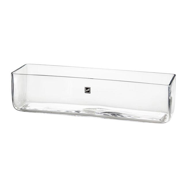 Glass Rectangle Vase 40x10x10cmh Clear