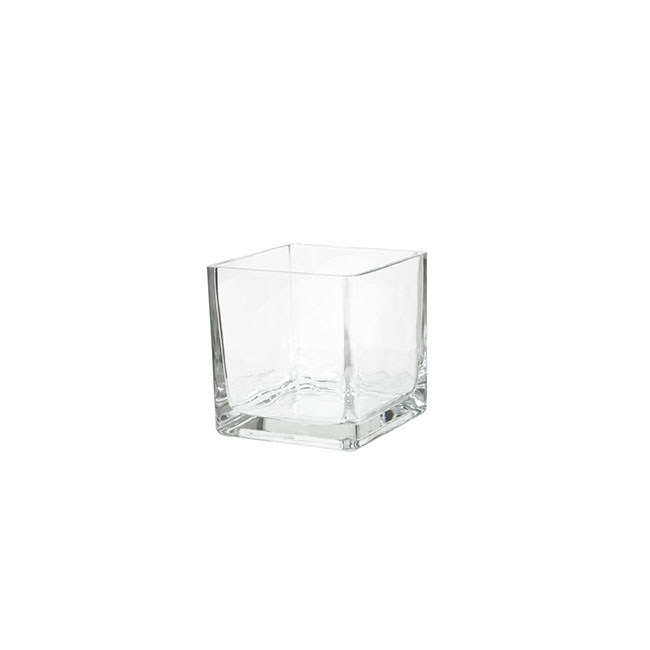 Glass Square Vases - Pressed Glass Cube Mini Vase Clear (6x6x6cmH)