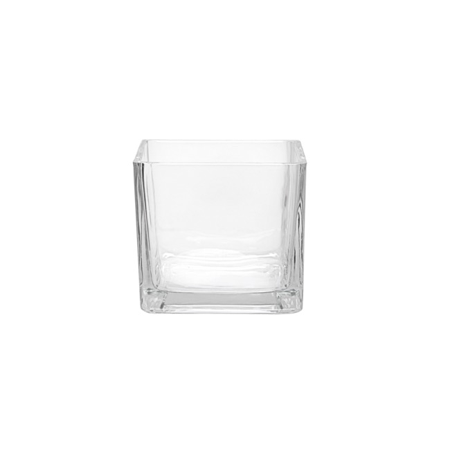 Cube and Square Vases - Pressed Glass Cube Vase Clear (8x8x8cmH)